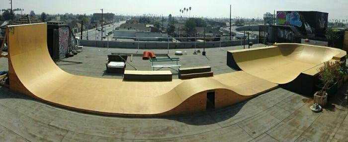 private roof top mini skate park, wall ride, table top roller, half bowl.